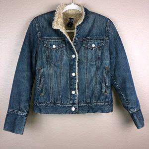 Gap Small Lined Tan Fur Vintage Jean Denim Jacket